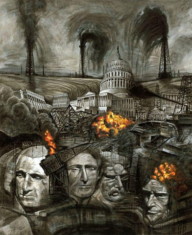 Painting of Mount Rushmore by John Martinek, Fracking, Washington, Oil