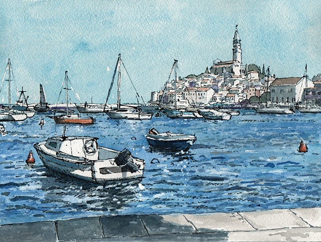 Rovinj Croatia Watercolor Painting John Martinek