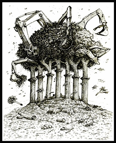 john martinek reduce democracy pen and ink editorial illustration