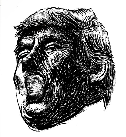 John Martinek political cartoon trump portrait