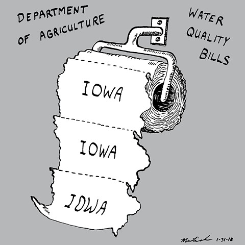 John Martinek Iowa Water Quality Pen and Ink