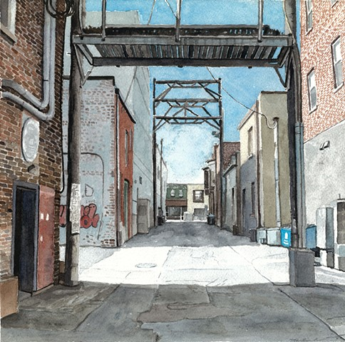 John Martinek Watercolor Iowa City Alley