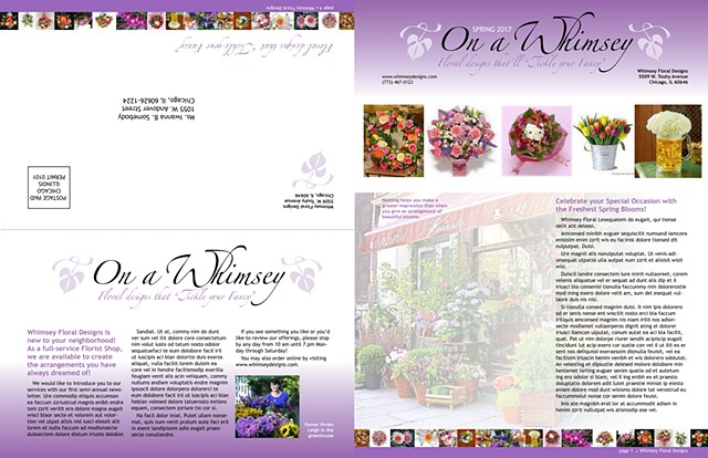 On a Whimsey Newsletter, bi-fold, front and back