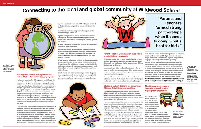 Wildwood School newsletter inside spread