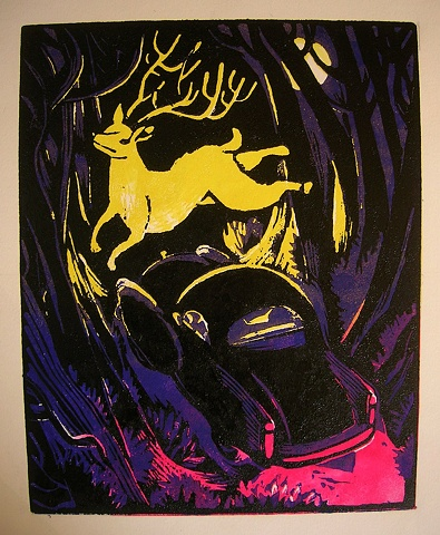 group show, reduction cut print, limited edition, 4-color,deer,woods,danger,