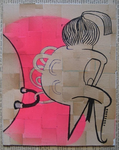 forgotten works, group show, collage, stencil, brush and ink, series