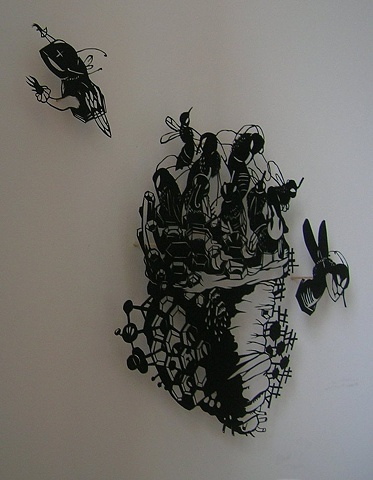 paper cut-out private collection rowan jacobsen fruitless fall bees colony collapse disorder