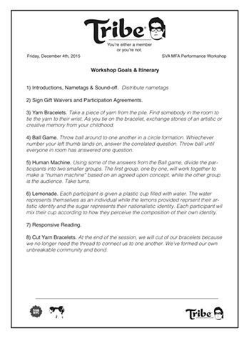 Workshop Itinerary