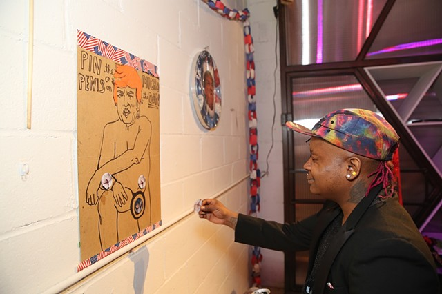 Ivoire playing Pin the Micro-Penis on the Don