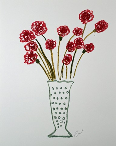Vase with Red Flowers