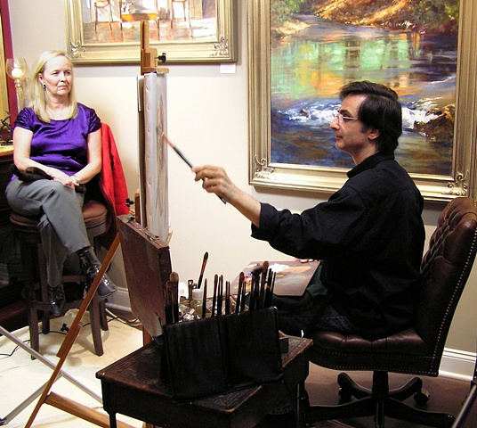 Oil portrait demo at Highlands Art Gallery with artist Lili Anne Laurin
