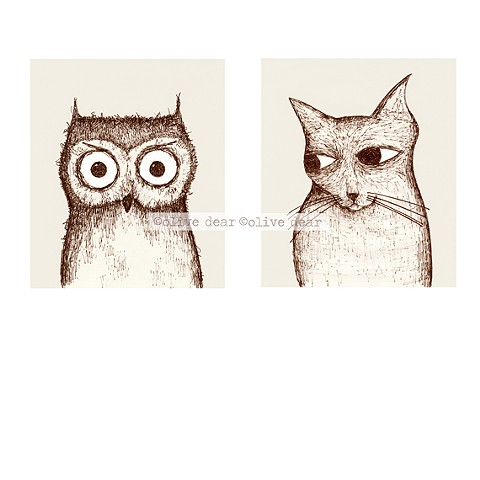 owl and pussycat - double portrait