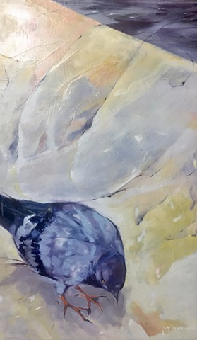 Blue Gray Yellow Pigeon Oil Painting