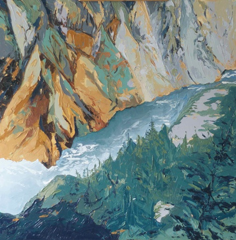 Palette knife painting Green Orange Yellowstone River, WY