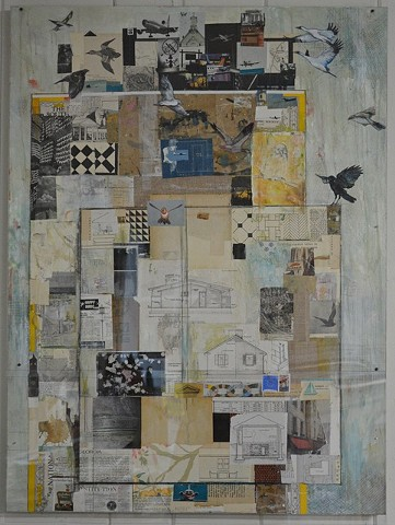 Mixed Media birds, planes & buildings by Artist, Katherine Bell McClure