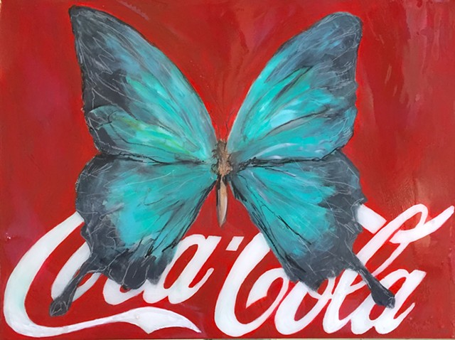 Butterfly Image on Coca Cola Logo by Atlanta Artist, Katherine Bell McClure