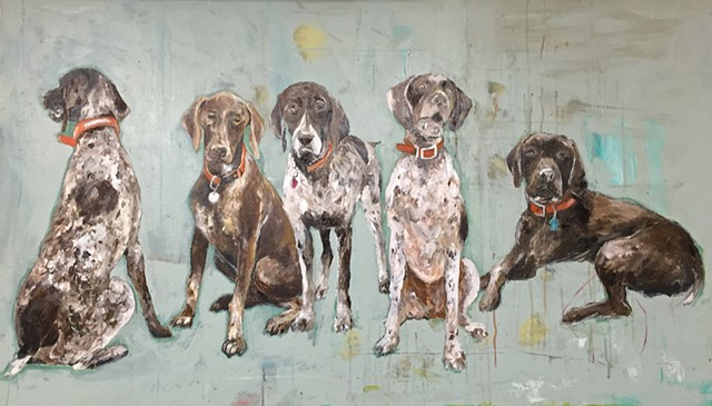 German Shorthaired Pointer Dogs painting by Atlanta artist Katherine McClure