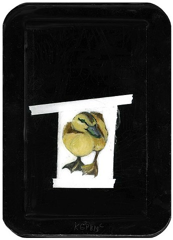 mixed media duckling painting by Katherine Bell McClure