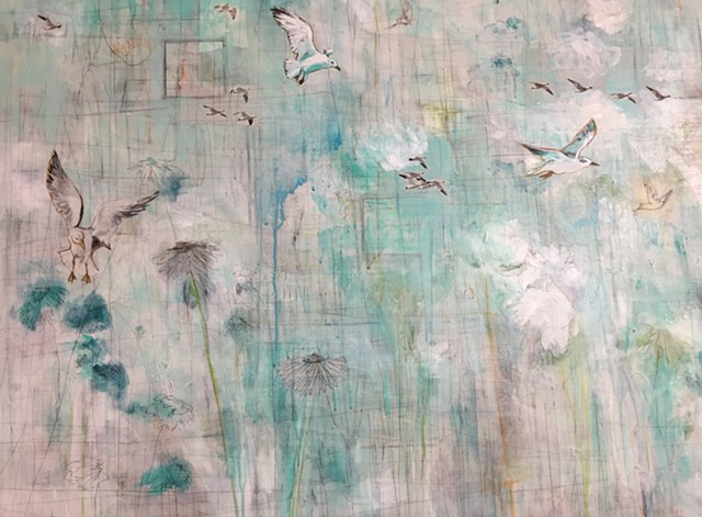 Beach birds coastal art mixed media