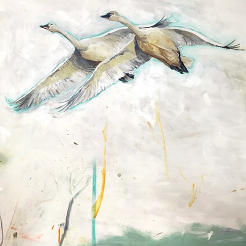 Ducks Geese Animal Art Painting by Atlanta Artist, Katherine McClure