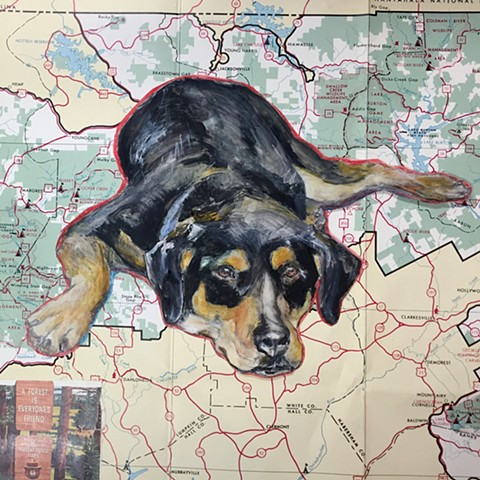 Atlanta Pet Portraits Dog Art by Katherine Bell McClure dog on map
