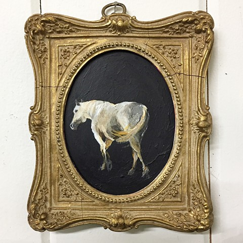 vintage frame with horse painting by Katherine Bell McClure