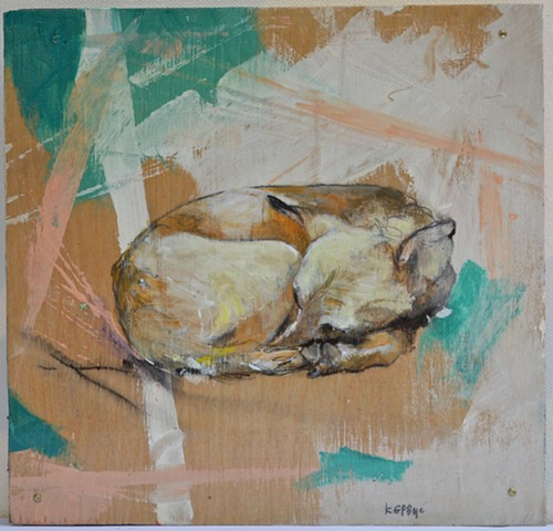 Animal Art Sleeping Dog Painting by Artist Katherine Bell McClure