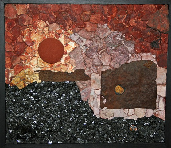 Abstract Mixed Media Wall Relief of a Northeastern Pennsylvania (Marvine Colliery) coal mine sunset.