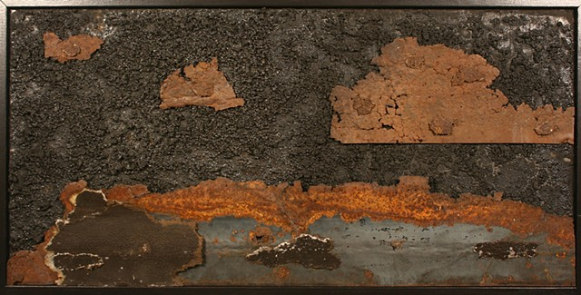 Night Scene at the Marvine Coal Company Colliery in Scranton, PA.  Coal, rusty metal, culm. Relief Sculpture