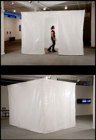 Large scale sculpture installation made with glassine and office tape.
