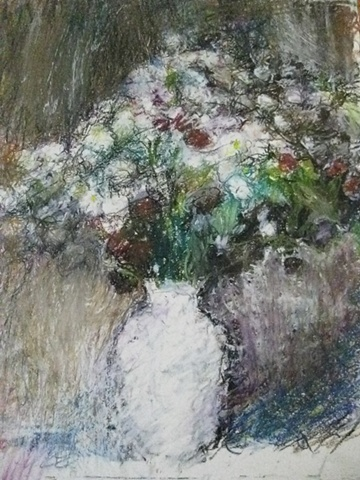summer flowers in white vase