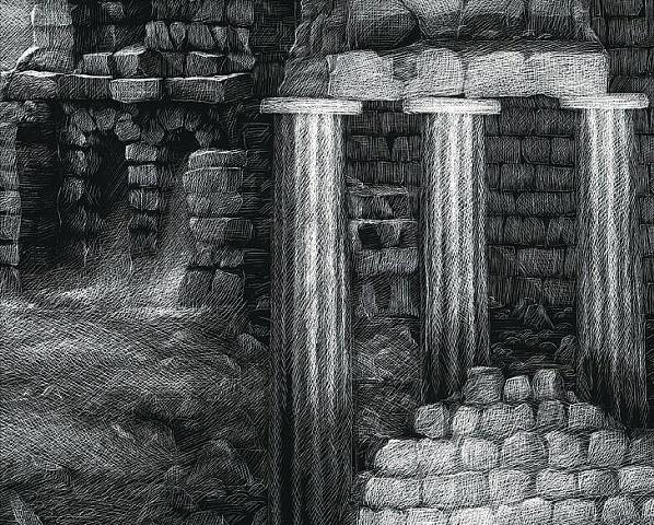 Greek Ruins, Mount Parnassos, Muses, Greek mythology, fantasy art