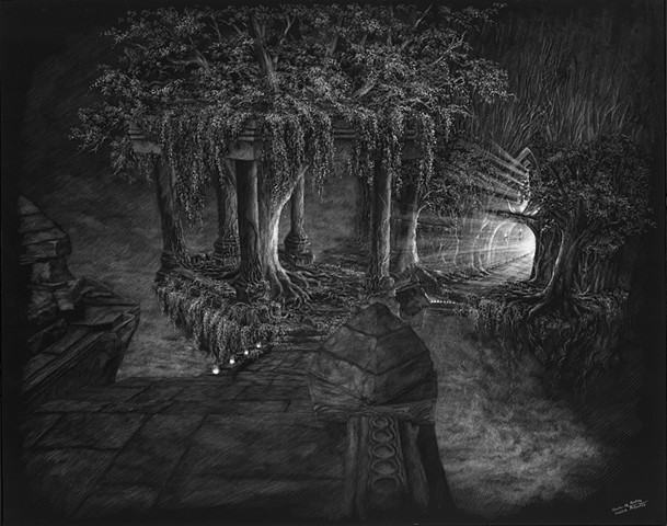 Hanging gardens, mythical places, black and white landscape, mystical forest