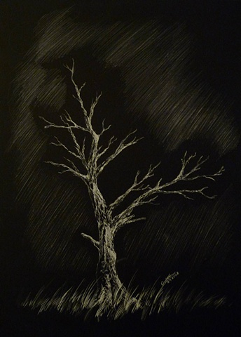 fantasy lone tree black and white scratchboard
