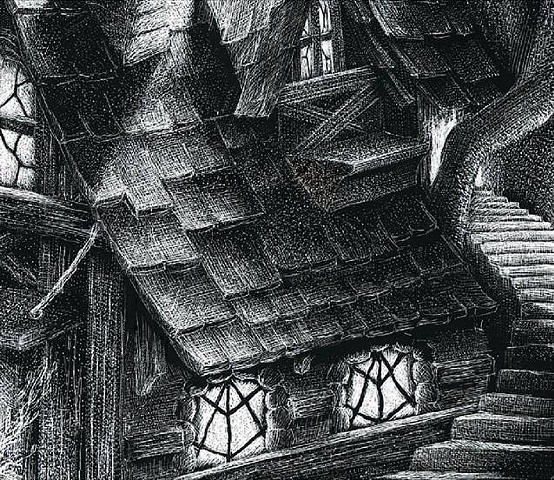 fantasy forest leprechaun gnome house cottage stairs black and white scratchboard tree treehouse