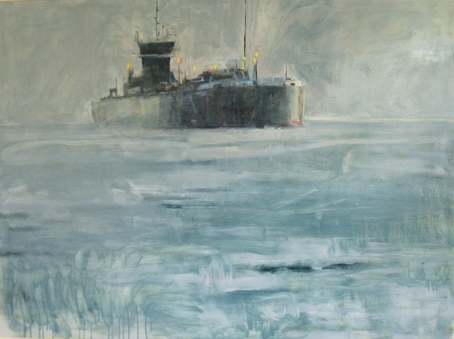freighter at night , painting of ships, nightfall painting, marine painting