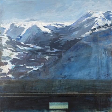 Oil painting of landscape as seen by surveillance cameras in the Alps