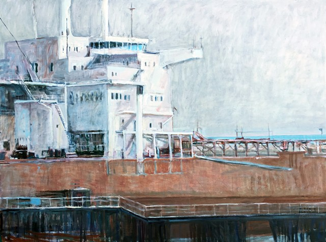 freighter painting, ship painting