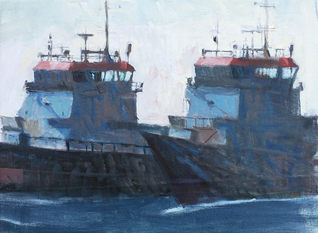 two ships painting, naval ships painting