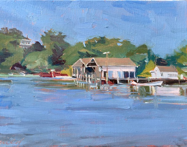 painting of hadley harbor near woods hole ma