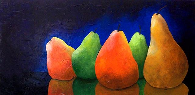 5 Pears On Blue