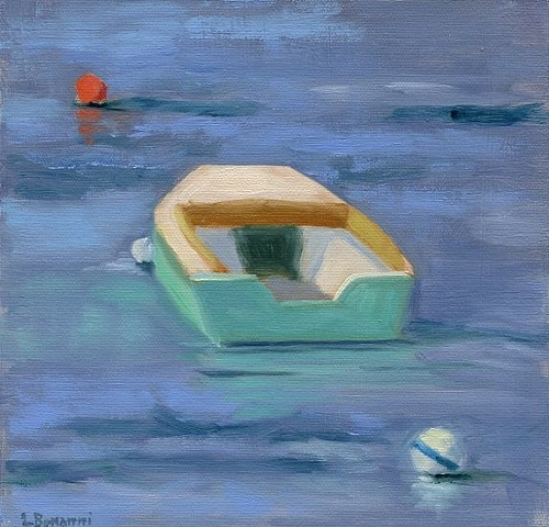 Plein Air oil painting of fishing garvey in Barnegat Light NJ by LBI artist, Lori Bonanni