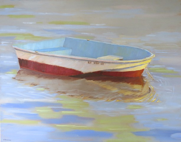 Painting of Dingy Rowboat on Barnegat Bay at Long Beach Island by Lori Bonanni