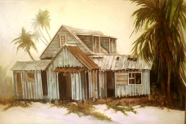 LBI, acrylic paintings, shack