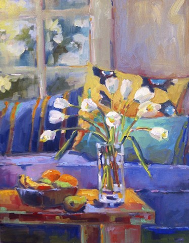 flowers, tulips, oil painting, still life