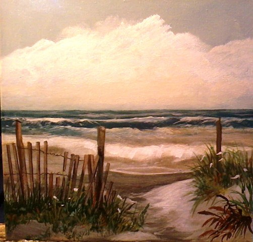 Paintings, acrylics, shore, beach