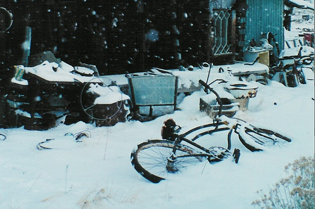 Snow storm and bike outside our window