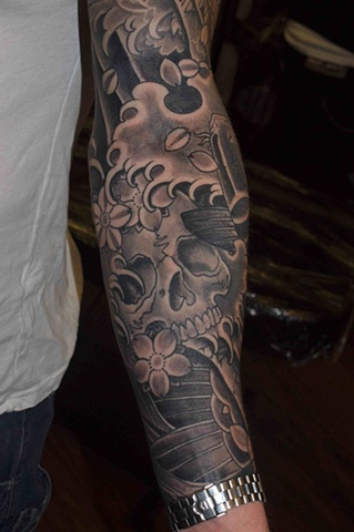Skull and cherry blossom with koi japanese tattoo japanese tattoo irezumi horimono wabori fil wood