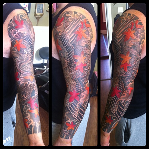 Phoenix and Maple Leaves full sleeve  japanese tattoo irezumi horimono wabori fil wood
