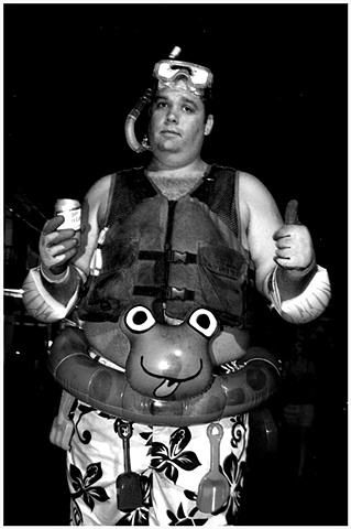 Steve poses for a portrait in his Scuba Steve costume at Mid-Summer Mardi Gras.